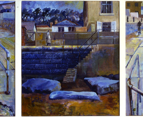 triptych painting of a figure walking along Sandgate sea wall from different angles