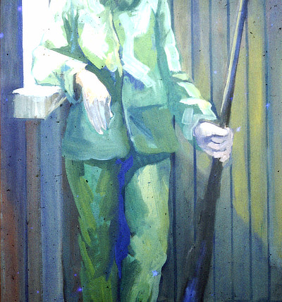 painting of a chinese soldier with rifle leaning against a window pane