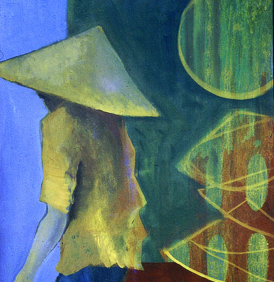 painting of a man in a conical Chinese farmers hat