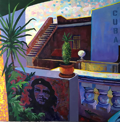 panel 1 of 3 of a striking still life painting on Cuba balcony which features a small mural of Che Guevara