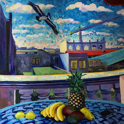 panel 2 of 3 of a striking still life painting on Cuba balcony which features fruit bowl and tropical bird