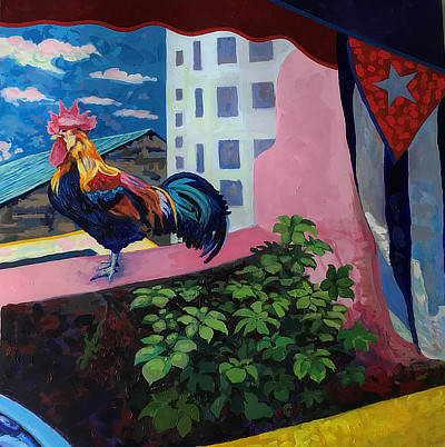 panel 3 of 3 of a striking still life painting on Cuba balcony which features a rooster