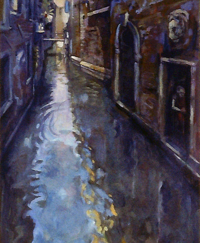 painting in three vertical panels looking down a Venice watercourse