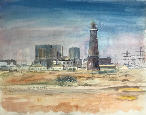 watercolour painting of Dungeness lighthouse with the power station behind