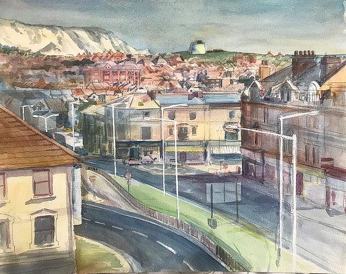 watercolour painting of Folkestone vista from Saga multistorey car park
