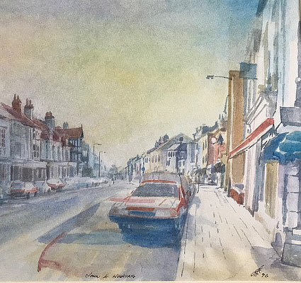 watercolour painting of the view up Sandgate High St