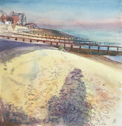 watercolour painting of setting sun casting shadow of figure on Sandgate beach looking East