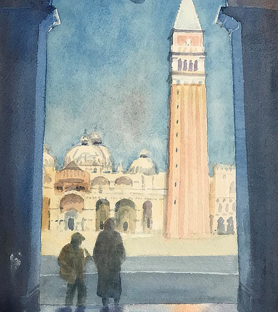 watercolour painting of tall tower in bright light seen from within a high dim corridor