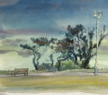 watercolour painting of view up Sandgate beach to houses behind