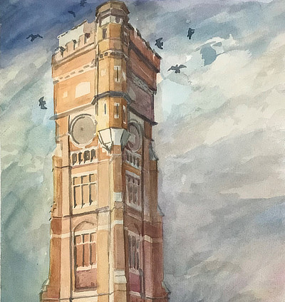 watercolour painting of red brick water tower structure at Littlestone