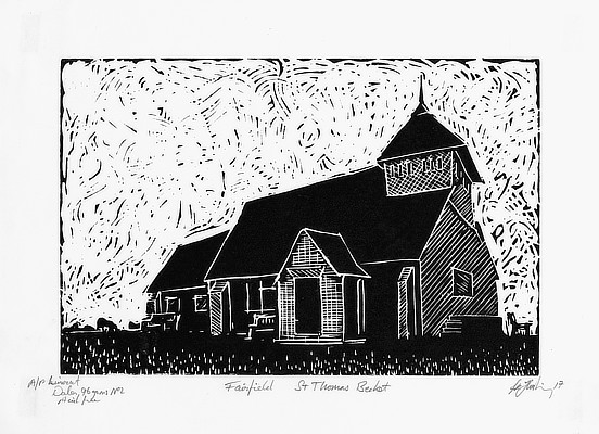 linocut of a church in Romney Marsh area