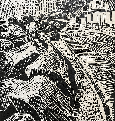 striking graphic linocut of sea defenses at Sandgate