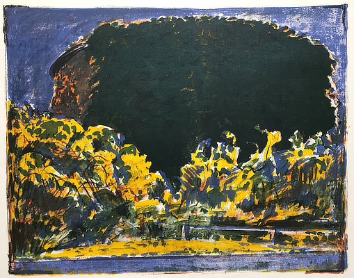 colourful lithograph of a Martello Tower behind foliage