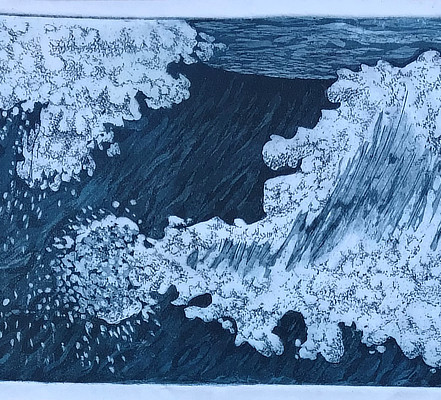 blue and white lithograph of a wave similar to Hokusai