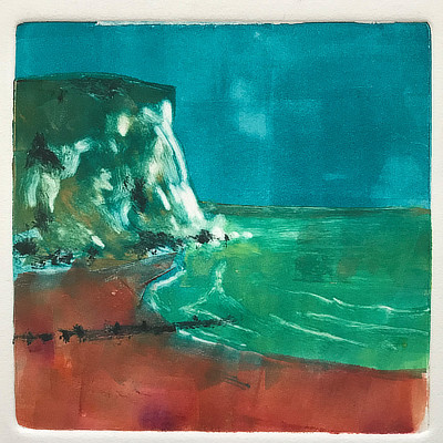 colourful monoprint of cliff and sea