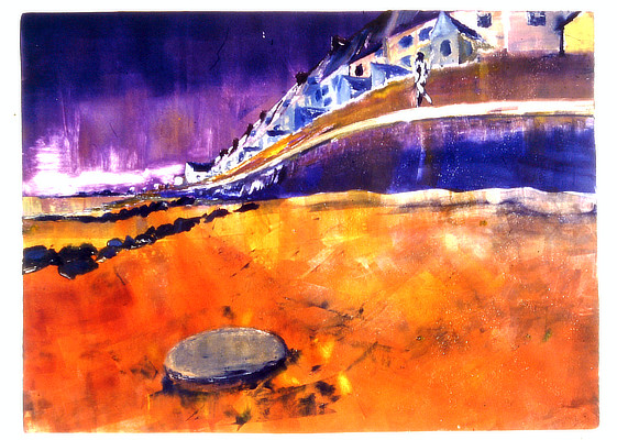 vibrant bold monoprint of beach and sea wall