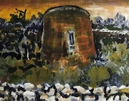 monoprint of Martello Tower with moat